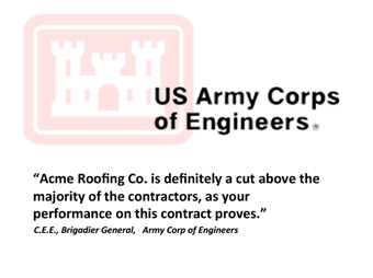 Arms Corp of engineers Testimonial